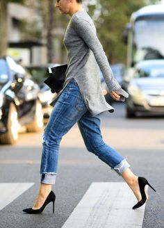 2 Ways: Ribbed grey side slit sweater with denim and heels #style #fashion #streetstyle