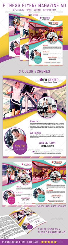 #Fitness #Flyer/ #Magazine Ad In 3 Colors - Sports Events Download here: https://graphicriver.net/item/fitness-flyer-magazine-ad-in-3-colors/4603474?ref=alena994