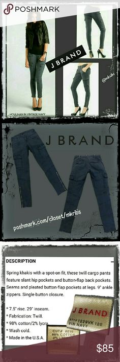 ⭐ J Brand Houlihan skinny cargo jeans 27 Highly sought after and sold out.... J Brand Houlihan jeans in Vintage Navy.  Skinny cargo with stretch and ankle zip. NO TRADES PLEASE! REASONABLE OFFERS WELCOME THROUGH OFFER FEATURE ONLY PLEASE! J Brand Jeans