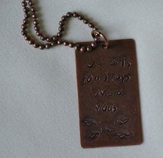 Always with Youantique stamped copper pendant with by myartdelice, $16.95