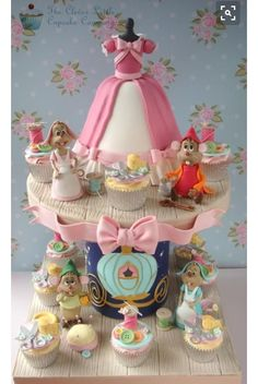 Cinderella cake and cupcake tower - For all your cake decorating supplies… Crazy Cakes, Pretty Cakes, Cute Cakes, Fondant Cakes, Cupcake Cakes, Cupcake Art, Cupcake Ideas, Cinderella Cupcakes, Cinderella Party