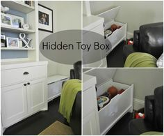 """Hidden Toy Box for living room: Wal-Mart ~ """"Sauder Shoal Creek Storage Chest"""" - $75 - 35.2 W x 15.2 D x 18.9 H, safety lid (stays open until you close it!) and space for little fingers"""