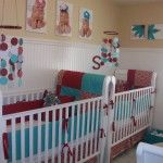 Terrifying that it's for triplets, but some really fun DIY ideas here again in a fun color scheme