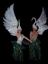 Photo of swan costumes for fans of The Little Mermaid on Broadway.