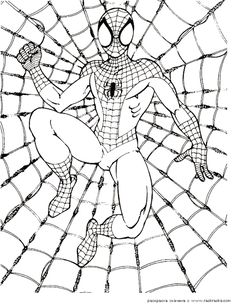 spiderman web coloring pages from Spiderman Coloring Pages Printable. The Spiderman is a well known super hero who is good at climbing buildings. The red-costumed superhero figure was created by comic artist Stan Lee ab. Superhero Coloring Pages, Spiderman Coloring, Coloring Pages For Girls, Coloring Pages To Print, Coloring Book Pages, Coloring For Kids, Printable Coloring Pages, Coloring Sheets, Spiderman Drawing