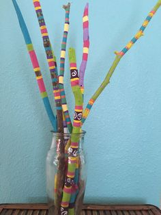 Painted driftwood hand painted sticks by LivingLikeLexie on Etsy https://www.etsy.com/listing/295374593/painted-driftwood-hand-painted-sticks