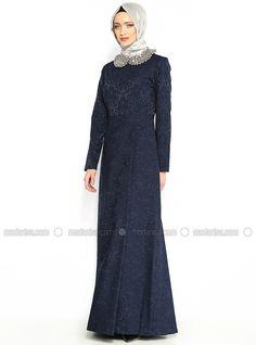 Brokar Desen Elbise - Lacivert - Armine Giyim