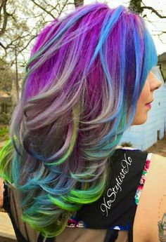 Purple mixed multi dyed hair color