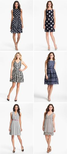The DOT is HOT! Polka dot is perfect for bridesmaids, especially in classic navy & white.