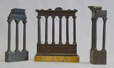 Grand tour Italian ruined temples of Rome in patinated bronze and Sienna marble - Gavin Douglas Antiques