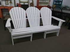 $129 - Bench Seat made from three vintage - all wood Adirondack chairs - freshly painted. Charming look for the deck, patio or garden. ***** In Booth D16 at Main Street Antique Mall 7260 E Main St (east of Power RD on MAIN STREET) Mesa Az 85207 **** Open 7 days a week 10:00AM-5:30PM **** Call for more information 480 924 1122 **** We Accept cash, debit, VISA, Mastercard, Discover or American Express