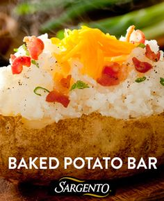 Let your guests customize their meal at your next dinner party with a baked potato bar. Sargento Shredded Cheese varieties can suit any party theme...Southwest, Mexican, Italian.