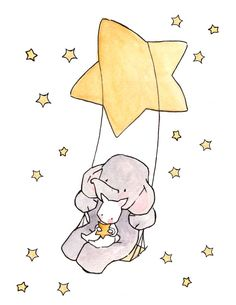 Swinging Stars and Moonbeams 8x10 Nursery Art door ohhellodear