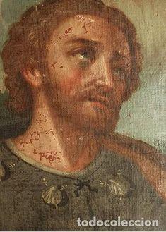 ANTIGUA PINTURA OLEO SOBRE TELA DEL APOSTOL SANTIAGO 23 cm x 17 cm