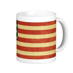 Distressed American Flag Coffee Mug, with simulated aging and wear.