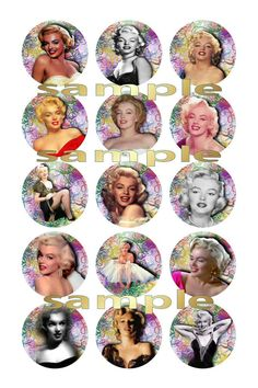 marilyn monroe 1 Circle Images Digital Collage by TeaByDesign, £1.20