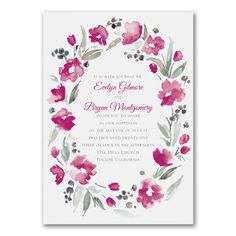 Watercolor Wreath - Invitation. Available at Persnickety Invitation Studio.