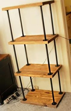 Diy shelving unit great links for discount pipe and flanges on pipewood bookcase do it yourself home projects from ana white solutioingenieria Images