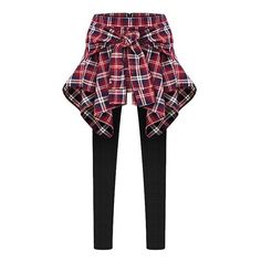 Inset Tied Around Plaid Shirt Leggings (93 PLN) ❤ liked on Polyvore featuring pants, leggings, bottoms, jeans, red, tartan pants, high-waisted pants, tie pants, high waisted trousers and plaid trousers