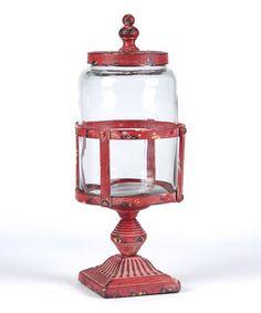 Look what I found on #zulily! Red Weathered Pedestal Jar #zulilyfinds