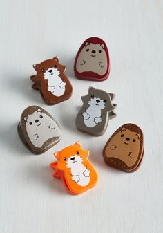 Woodland a Hand Clips by Kikkerland - Multi, Critters, Woodland Creature, Good, Under $20, Quirky, Gifts2015