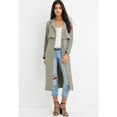 Forever 21 Draped Trench Coat ($45) ❤ liked on Polyvore featuring outerwear, coats, tie belt, long sleeve coat, full length coat, full length trench coat and trench coat