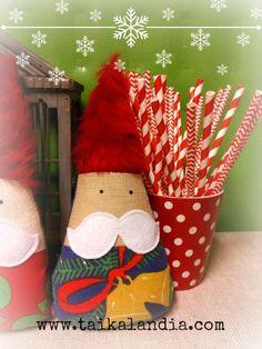Repurposed old vintage christmas fabrics. Super cute christmas gnome! By Taikalandia