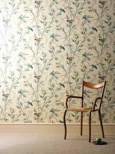 €81 per Roll: Great Ormond Street (c.1890) - A colourful parrot motif, based on a paper found in an 18th Century terrace house opposite the Great Ormond St Hospital.    #wallpaper