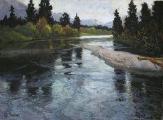 Author: Frits Thaulow. Landscape, Drawings, Pastel on canvas, 60x81 cm. Origin: Norway, Circa 1883. Album: Pair to the drawing