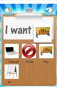MY CHOICE BOARD is an App that enables an iPhone, iPod Touch, or iPad to become an augmentative and alternative communication device for people with autism, learning or speech disabilities or diffculties communicating effectively.  It allows boards to be created by the parent, teacher or caregivers and they can be themed to display personal preferences.  The image can be enlarged and if user recorded a message it will play the message when image tapped. Available at iTunes for $9.99.