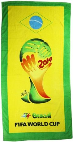 2014 Brazil FIFA World Cup Soccer Super Fans Beach Bath Towel - Multicolour (Size: One size): Clothing