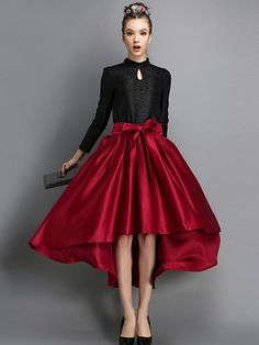 Red High-Low Bow Belt Skirt
