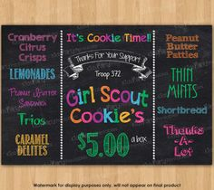 Girl Scout Cookies Sign Girl Scout by KidsPartyPrintables on Etsy Girl Scout Cookie Sales, Brownie Girl Scouts, Girl Scout Cookies, Girl Scout Swap, Girl Scout Leader, Girl Scout Troop, Scout Mom, Girl Scout Activities, Girl Scout Juniors