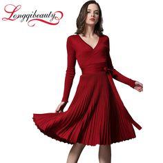 European 2016 Spring & Autumn Dress Sexy Dress Full Sleeve V-Neck Knit Pleated Sashes Women Dress Vestidos