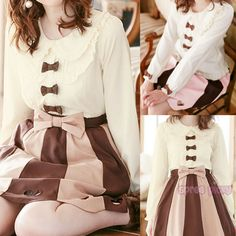 White/Pink/Brown [Do You Want Some Chocolate] Chiffon Blouse SP165985