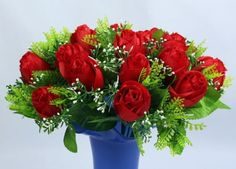 Red Rose Artificial Floral Beautification in Tall Vase, How to Decorate Home with Artificial/Fake/False/Faux Flowers – Images ideas to embellish the rooms, kitchens, hotels, offices. Silk flower arrangements tips.