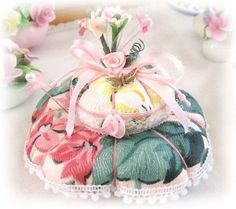 Pincushion Handmade Soft Sculpture Brass Butterfly, PINK FLORAL Double Handcrafted CharlotteStyle Needlecraft