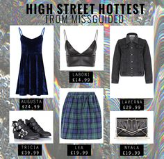 High Street Hottest From Missguided!. .X http://www.missguided.co.uk/ #Missguided #Fashion #Style #Trends #Tartan #Skirt #Velvet #Leather #Black #Navy #Bralet #Studs