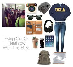 """""""Flying Out Of Heathrow With The Boys"""" by runningwithfandoms ❤ liked on Polyvore featuring Dondup, Ray-Ban, NIKE, women's clothing, women's fashion, women, female, woman, misses and juniors"""