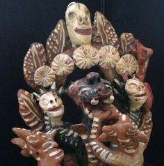 Ocumichu Devil Pottery Signed Catalina Martinez Vintage Mexican Pottery Skull Skeleton Figure Dia De Los Muerte Devil Statue Figure Diablos