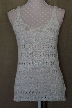Womens tank Lily Pulitzer Small Crochet look off white w. gold flakes cute #LilyPulitzer #crochetstyle #any
