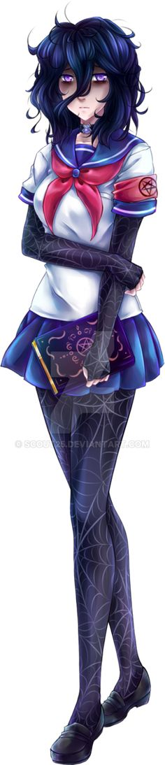 Oka's future look. She's my Yandere Sim waifu, I swear. I just adore that little occult head of hers.