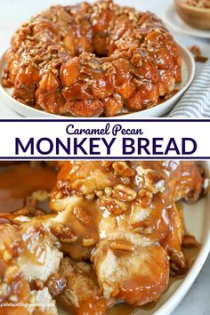 CARAMEL PECAN MONKEY BREAD - This easy Monkey Bread is made using store bought biscuit dough, cinnamon sugar and generous amounts of brown sugar caramel sauce. You'll love every fluffy, gooey, sticky bite. Caramel Rolls, Caramel Pecan, Brunch Recipes, Sweet Recipes, Breakfast Recipes, Breakfast Ideas, Pecan Cinnamon Rolls, Cinnamon Biscuits, Caramel Biscuits