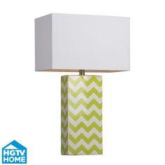 Bright Green and White Chevron Ceramic Lamp from