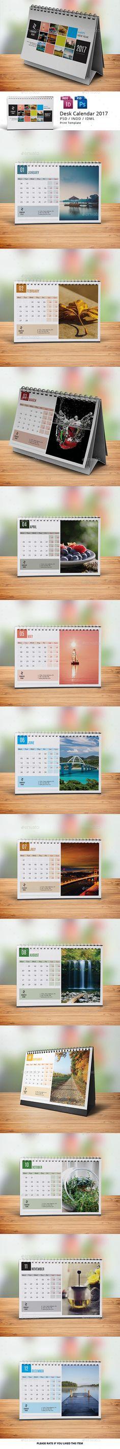 Desk Calendar 2017 Design Template - Calendars Stationery Design Template PSD, InDesign INDD. Download here: https://graphicriver.net/item/desk-calendar-2017/18722710?ref=yinkira