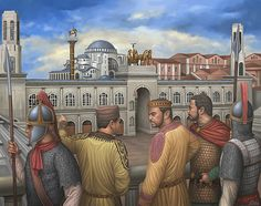 Justinian I in the Hippodrome of Constantinople, to Saint Sophia in the background