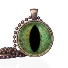 Hazel Green Cat Eye - Cat Eye Necklace - Dragon Eye Jewelry- Lizard Eye Necklace - Dinosaur Jewelry - Third Eye Necklace by KingFamilyCreations