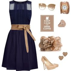 I like simple classy look of this dress and the contrasting belt is so cute!