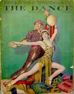 The Dance Magazine ~ January 1928 by Illustrator Jean Oldham. This depicts dance team of Fowler and Tamara. Great vibrant colours.