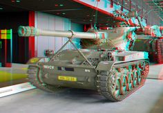 A Tank At The Nationaal Militair Museum - 3D Anaglyph Photography.